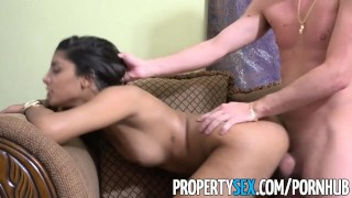 PropertySex - Landlord tries to collect rent ends up fucking hot ass Latina