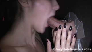Sexy Brunette Sucks Cock in Gloryhole cumshot gloryholevoyeurs swallow milf brunette tattoos bj reality blowjob gloryhole facial