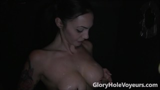 Sexy Brunette Sucks Cock in Gloryhole  big tits bj blowjob gloryhole cumshot milf cock sucking brunette reality swallow gloryholevoyeurs tattoos facial big boobs