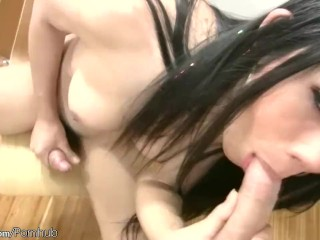 Innocent looking ladyboy blowjobs a cock till facial cumshot