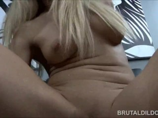 Amy Brooke fucking both her pussy and asshole with two big brutal dildos
