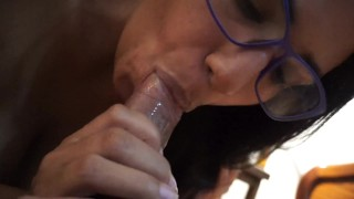 Mommy gives him a sloppy amateur blowjob