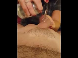 HORNY GIRLFRIEND LUBES UP COCK AND STROKES HIM UNTIL ORGASM! HUGE CUMSHOT!