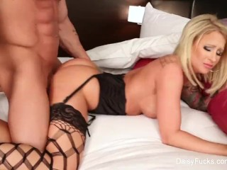 Busty babe Daisy teases before taking a big cock