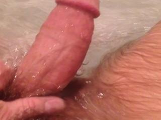 POV masturbation cock bath play