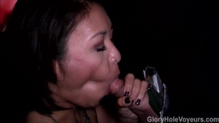 Asian Girl Sucks Cock in Gloryhole  asian blowjob amateur gloryhole milf kink swallow natural tits mom reality gloryholevoyeurs tattoos cock sucking