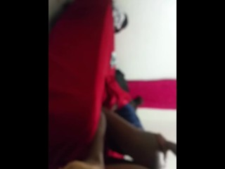 fuck ebony teen thot quietly while everyone watch shottas in living room