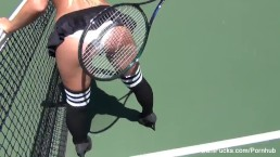 Topless tennis with Dani Daniels & Cherie DeVille
