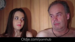 Hairy old guy is fucking fresh Hot Baby in the sauna