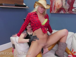 Hot blond cowgirl goes riding at brutal anal rodeo