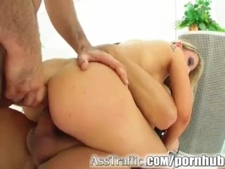 Ass Traffic Two cocks toys and fingers penetrate this girl's butt
