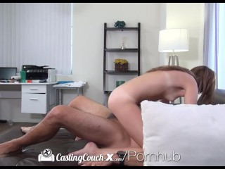 CastingCouch-X - Brunette Kaylee Haze takes sloppy facial at her audition