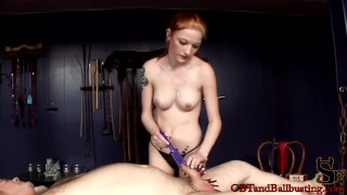 CBT slave gets cock torture to test his limits  bdsm redhead femdom amateur tattoo fetish kink bondage whipping ballbusting cock pump natural tits clothes pins cbtandballbusting