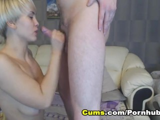 Horny Blonde Babe gives Lustful Blowjob and Fucked by Boyfriend