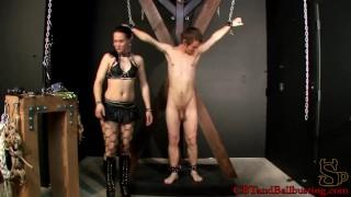 CBT Mistress Cheyenne ball busts a new slave  lingerie caning bdsm femdom amateur cfnm punishment fetish kink brunette bondage stockings clamps cbtandballbusting