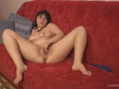 Tina fingers her tight pink pussy