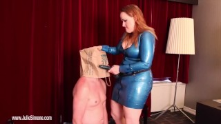Lame Fucks get PEGGED!  redhead pegging femdom julie simone kink latex bitchboy feitsh female domination strap on anal bbw femdom sex male strap on fake tits
