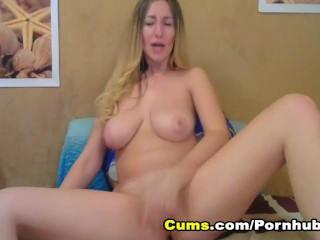 Hottie Blonde Chick Stroking her Tight Cunt