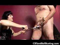 CBT Mistress O puts slaves cock in ra...