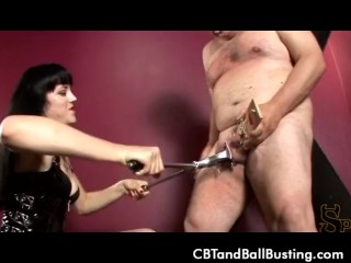 CBT Mistress O puts slaves cock in rat trap