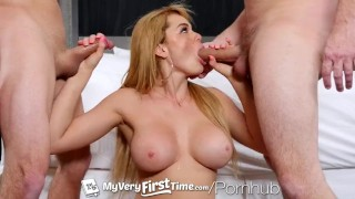 MyVeryFirstTime - Skyla Novea takes two dick for first time in threesome