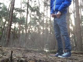 Young teen pissing in public