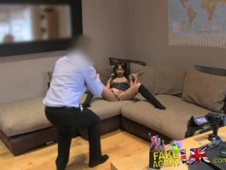 FakeAgentUK Agent stretches tiny ebony arsehole