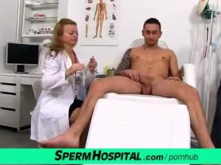 Cfnm medical handjob fetish with czech milf Denisa