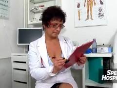 Aged lady Ivona in stockings big dick boy tugjob
