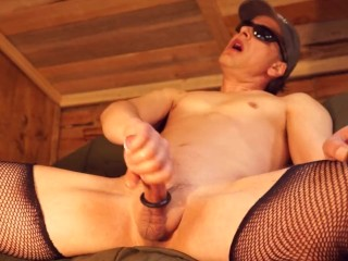 Shemale Wearing Cock Ring Moaning and Talking DirtyJacking Off Cums Twice!