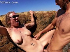 Blonde with Perfect Natural Tits Fucked Against a Rock