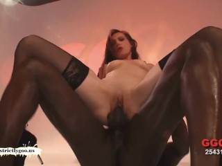 Legs wide open and mouth full of cum
