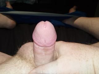 Rock hard pierced cock cums hard