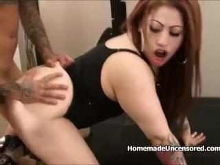 Chubby tattooed chick rides hard dick