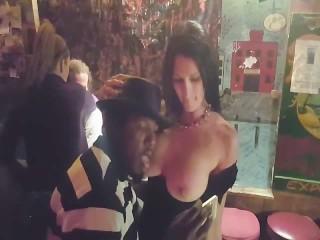 Real Hotwife Milf Public Bar Flashing Strangers, Sucking, and Fucking