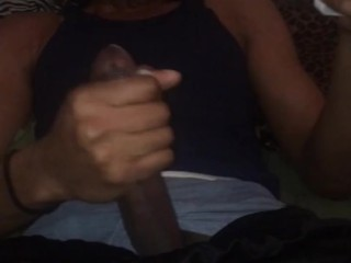 Jerking off while Dads GF records me!