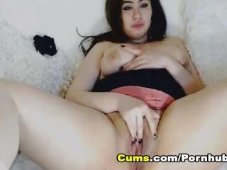 Hot Busty Babe Dildo Masturbation