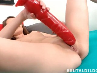 Teen fucking her pussy with a big black brutal dildo in HD
