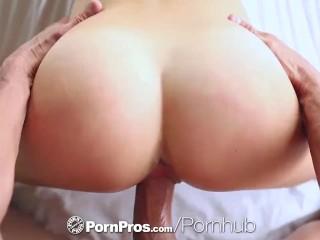 PornPros - Brunette Dillion Harper shaves pussy before she fingers herself