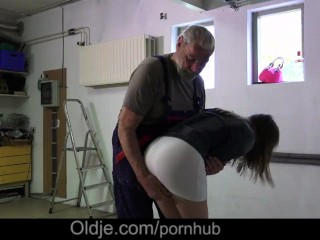 Jolly girl on heels and short dress provoke oldman to ass slap and shag her
