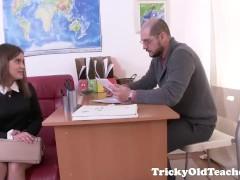 Tricky Old Teacher – Karolin drops her panties