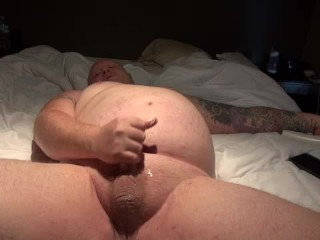 Chubby guy with pierced cock and ass play