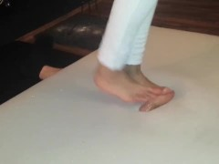 Cock crush dance in white jeans barefoot