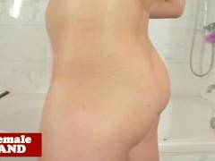 Smalltitted tgirl masturbating in bathroom
