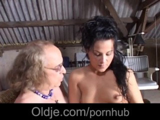 Long haired old decrepit is ass fucking his meaty next door brunette