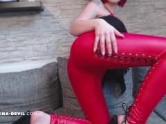 NEUES VIDEO!! ROTE LEDER LEGGING!!!