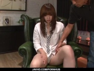 Mami Yuuki throats cock and swallows in the end