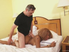 Black chick plowed by a big white dick