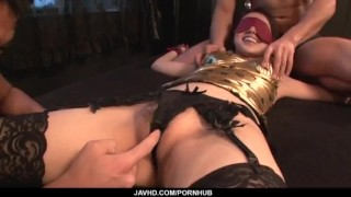 Gangbang action for cock sucking milf, Ann Yabuki  pink-pussy hot-milf group-action creamed-pussy mmf fingering black stockings hardcore-action cock-sucking doggy-style javhd mom