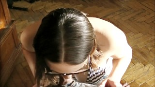 Sunny Blowjob and cum in mouth